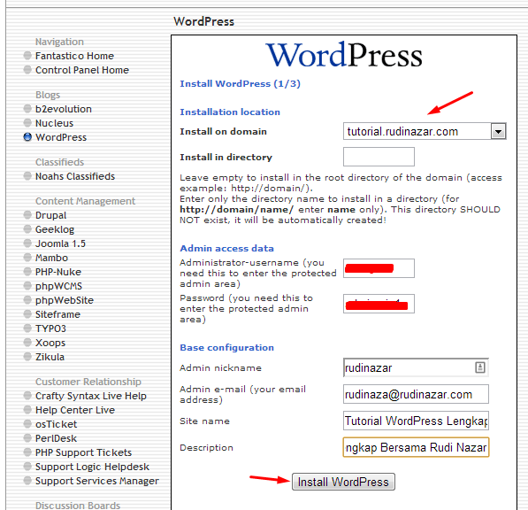 install wordpress di hostgator