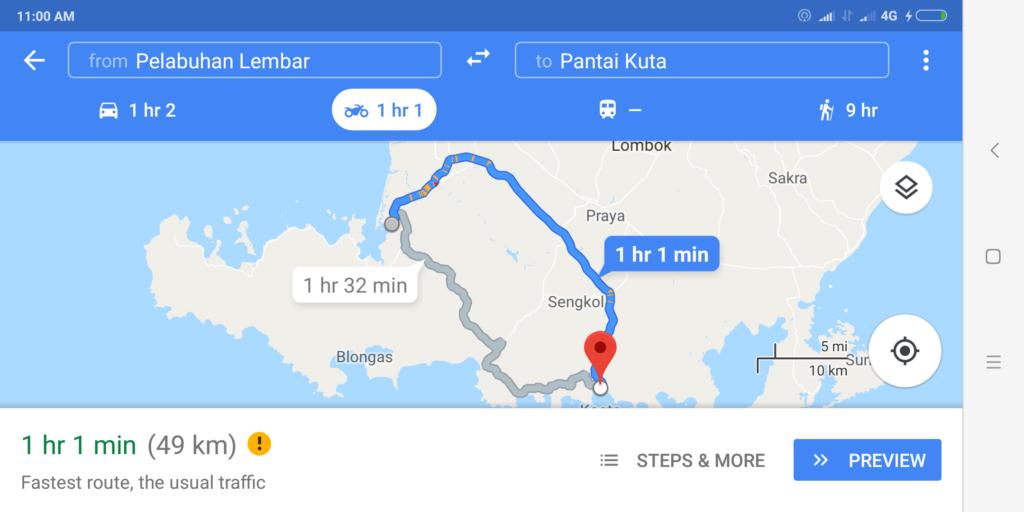 Rute dari Pelabuhan Lembar Pulau Lombok ke Pantai Kuta Lombok